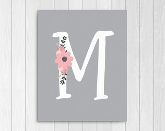 """Girls Floral Monogram, Nursery Letter """"M"""", Pink and Gray Nursery Decor, Personalized Baby Gift, Baby Girl Nursery Instant Download Printable"""