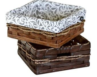 Custom Napkin / Organizer Basket, Square, Amish Hand Woven Basket, Handmade, Wicker Rattan - FREE SHIPPING