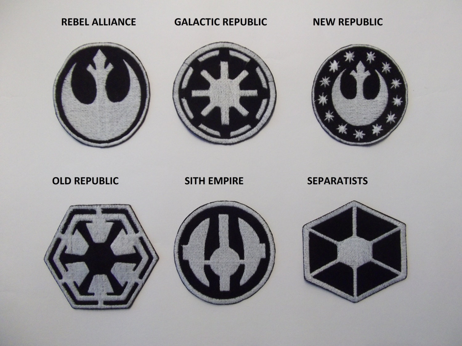 Star wars large sew on patches black and white patches zoom buycottarizona Choice Image