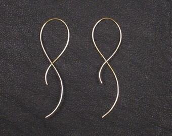 14K Gold earrings, wire earrings, silver earrings, minimalist wire earrings, simple gold earrings, minimal, nickel free