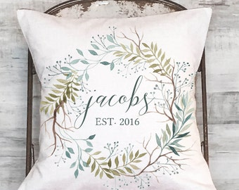 Wedding Gift Cotton Anniversary Gift Personalized Name and Date Pillow Cover