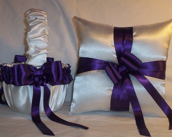 White Satin With Regency Purple Satin Ribbon Trim Flower Girl Basket And Ring Bearer Pillow