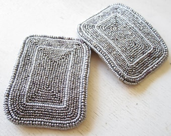Pair Antique French Silk Seed Bead Buckles - Vintage - Silver - Rectangle - Made in France - Costume - Sparkle - Jewelry - Belt - Embellish