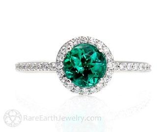 Emerald Engagement Ring Emerald ring Platinum Diamond Halo May Birthstone Gemstone Ring Wedding Ring