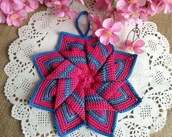 CROCHET PATTERN Pot Holder Crocheted Tea Potholders Kitchen Star Crochet Coaster Pot Holder Oven Mitt pdf pattern Instant Download cute pdf