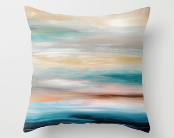 Throw Pillows, Beach Pillow Covers, Cushions, Abstract Pillow Blue Turquoise Gray Beige, Coastal Pillows, Couch Pillows Accent Pillows Gift