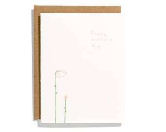 Mother's Day Bud - Letterpress Holiday Card - CH274