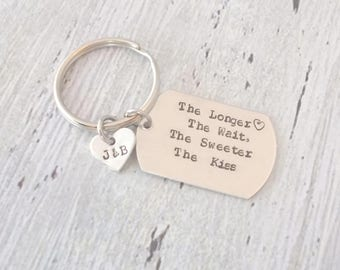 Long Distance Couples Keychain, The Longer The Wait The Sweeter The Kiss, Military Keychain, Long Distance Relationship Gift, Boyfriend Gift