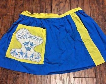 Vintage Retro Mid Century Swedish Sweden Scandinavian Valkommen Welcome Blue Yellow Kitchen Half Waist Apron