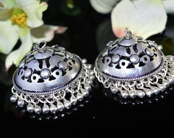 Silver tribal Earrings,Kucchi Bell Jhumkas,Ethnic Silver Jewellery,Earrings Chandelier,Temple Indian Jewellery by Taneesi Jewelry  YJ238S