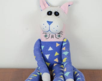 Triangle print sock cat, Sock monkey doll, stuffed animal, kids toy, cat toy
