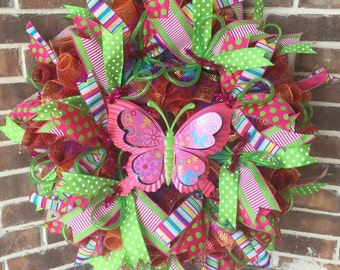 Spring Pink Butterfly Wreath, Butterfly, Spring, Pink, Green