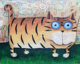 Tigerkatze, Helena Paschkow, wanLenArt (18cmx24cm)