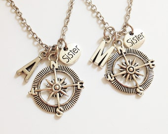 set of 2 compass necklace - sister necklace - personalized necklace - initial necklace - friendship - birthday - Christmas