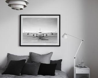Aviation Decor, Aircraft Decor, Airplane Art Print, Black And White Art, Aviation Wall Art, Gift for Pilot, Airbus A340, Minimalist Art