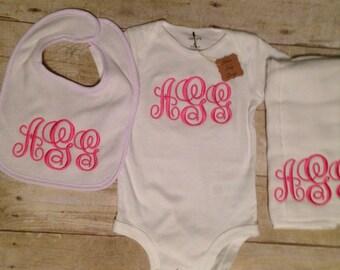 Monogram Baby Bodysuit, Personalized Baby Gift, Initial Gift Set, Monogrammed Bib, Monogrammed Burpcloth