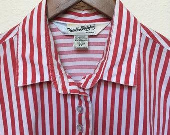 Vintage Diane Von Furstenberg blouse, red white striped top, oversized blouse, vertical stripe red  long sleeve, designer vintage DVF, XL 1X
