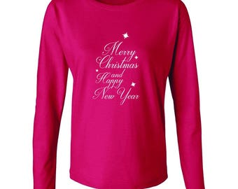 Merry Christmas And Happy New Year Graphic Women's Long Sleeve