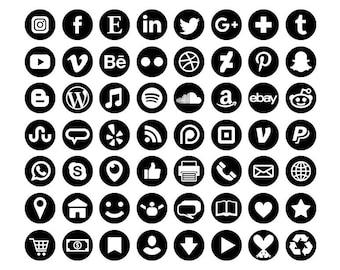 Noir Social Media Icons Set | Transparent rond cercle Avatar plat couleur boutons Blog site Web | Icônes numériques | Utilisation personnelle ou commerciale