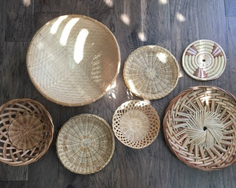 Vintage Wicker Rattan Baskets, Set of 7, Woven Straw Boho Wall Decor, Jungalow Basket Decor