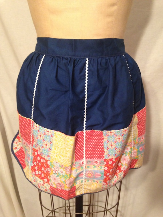 Blue Reversible Flower and Polka Dot Apron