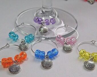 Wine Glass Charms Drink Markers Tibetan Silver Charm Rings Seashells Set Of 6 Beach/Ocean/Nautical/Coastal Wine Rings