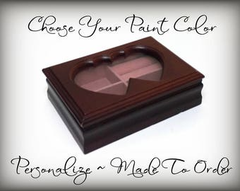 Personalized Custom Hand Painted Jewelry Box, Twin Heart Frame for Your Picture, Choose Your Paint Color, Gift For Daughter, Girl, Teen
