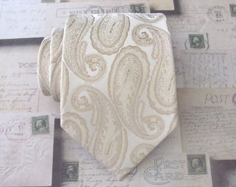 Mens Tie. Beige Tan Cream Paisley Mens Tie with Matching Pocket Square Option