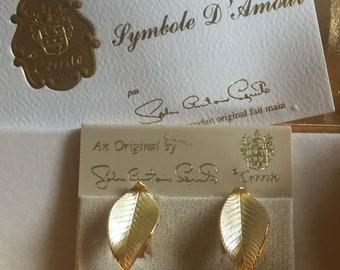 CERRITO leaf Vintage clip earrings