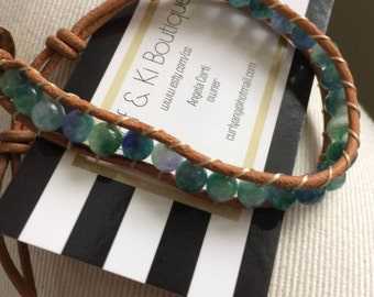 Wrapped Bracelet Turquoise, leather, popular bohemian, agate