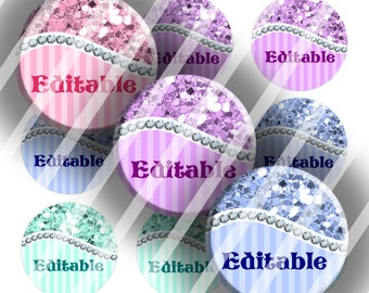 "Editable Bottle Cap Collage Sheet - Glitter Diamond Curve (227) - 1"" Digital Bottle Cap Images"