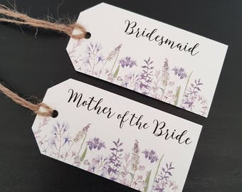 Lavender Place Card Tags - Wedding Name Tags - Personalised Place Cards - Escort Cards - Floral Name Tags - Rustic Place Cards