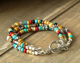 Turquoise Silver Southwest Bracelet, Custom Sundance Style Colorful Triple Strand Stacking Bracelet, Boho Jewelry, Set with Necklace, Gift