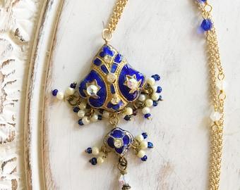 Vintage Blue Indian Necklace by MinouBazaar