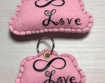 Small keychain and big cloud felt infinity Love Valentine's day