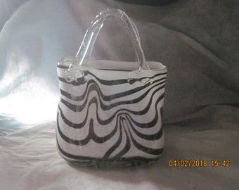 Hand Blown Art Glass Swirl Print Purse Handbag
