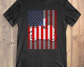 Motorcycling T-Shirt Gift: American Flag