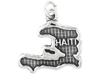 Sterling Silver Map of Haiti Travel Charm