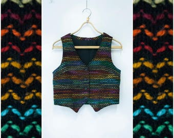 Vintage 90s Waistcoat Womens Small Rainbow Top Chevron Print Button Up Black Colorful Cropped Vest Rainbow Crop Waistcoat Zig Zag Print Top