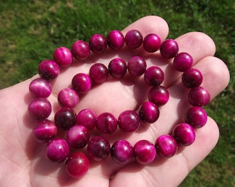 4 BEADS 8MM PINK TIGER ŒIL. BEAUTIFUL BEADS!