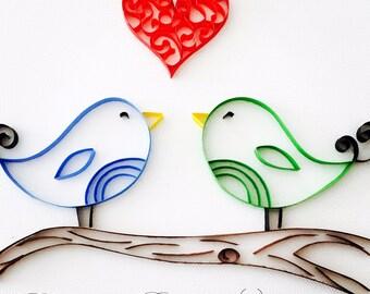 Love Birds - Quilled Paper Art