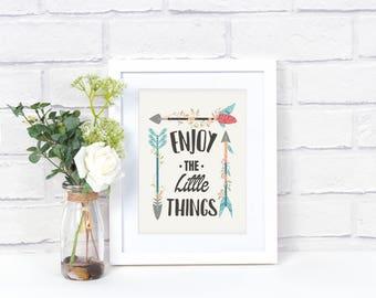 Enjoy the Little Things Wall Art - Kids Inspirational Sign - Arrow Sign - Nursery Decor - Arrow Wall Decor - Kids Room Decor
