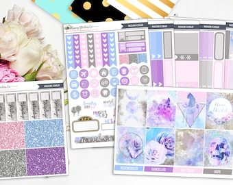Moon Child | FULL Vertical Weekly Planner Sticker Kit for use with Erin Condren Lifeplanner™, Filofax, Personal, A5, Happy Planner