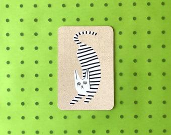 Screenprinted Postcard - Striped Cat