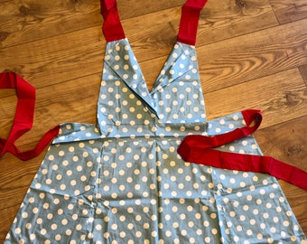 Polkadot 60s Feel Blue & White Ladies Apron