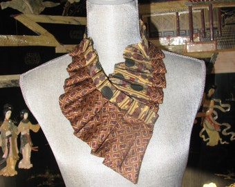 Silk Necktie - Silk Ascot - Women's ascot - Ruffled Necktie - Repurposed Necktie
