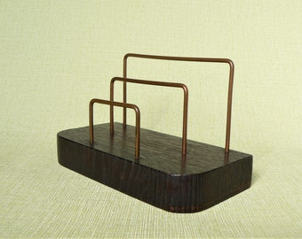 LETTERS HOLDER Vintage/ Table Organizer Wood & Metal/ Retro Table Accessory/ USSR, 1970s