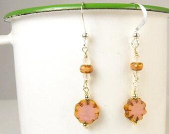 SALE! Pink Flower Earrings Delicate Spring Earrings Handmade Jewelry
