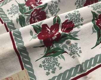 """1940's Vintage Tablecloth~Red Floral & Jadeite Green by """"Prints Charming""""~Paper Label~Avalon Pattern~NOS~UNUSED~40 x 40"""