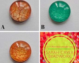 Single 20mm Hand Painted Glass Cabochon for Jewellery Making, Bead Embroidery, Beadweaving
